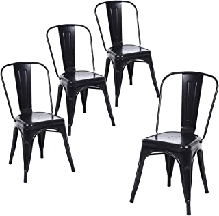 Buschman Set of Four Matte Black Metal Indoor/Outdoor Stackable Chairs with Back