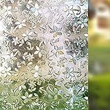 LMKJ Flower Pattern 3D Static Preservation Glass Film, Opaque Privacy Glass Sticker, Home Decoration Window Film A25 50x100cm