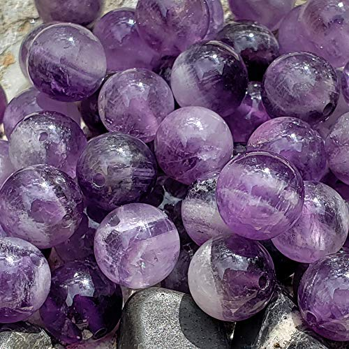 Chengmu 75Pcs 8mm Banded Amethyst Beads for Jewelry Making Natural Gemstone Round Loose Stone Beads Assortments Accessories for Bracelet Necklace with Elastic Cord and Jewelry Bag and Red Box