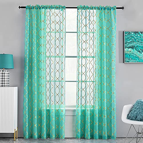 Kotile Turquoise Sheer Curtains for Living Room, Metallic Gold Foil Quatrefoil Moroccan Tile Sheer Curtains 96 Inch Long, Light Filtering Sheer Curtains 2 Panels, 52 x 96 Inch, Turquoise Gold