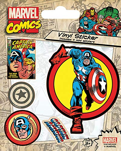 Pyramid International Marvel Comics (Captain America Retro) Stickers en vinyle, papier, multicolore, 10 x 12,5 x 1,3 cm