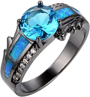 Opal Blue Sapphire Stone Punk Style Rings Wedding Ring For Women Wedding Bridal Rings