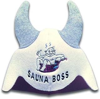 """Natural Textile Bastumössa """"Sauna Boss Devil"""" Vit - Bastuhatt 100% ekologiska ullfiltmössor för rysk Banya - Skydda ditt h..."""