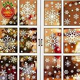 UMIPUBO 336 piezas Pegatina de Ventana de Navidad de Copo de Nieve Doble Cara Visible Adhesivo Reutilizable Pegatinas Decorativas de Navidad Adhesivo de Invierno (A, 21*29.5cm*14)