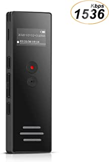 Voice Recorder 8GB Digital Dictaphone Recorder Double Microphone with Built-in Speakers, Voice Activated Recorder Expandable Up to 128GB for Meetings Lectures by AGPTEK, Black