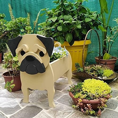 Golden Retriever Planter | Pug Planter | French Bulldog Planter | Chihuahua Dog Planter | Corgi Planter, Pattern, Wood Pet, Golden Retriever Planter, Decorative Gardener, Animal Pot (Pug Planter)