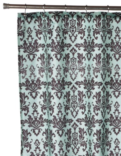 Light blue and black damask shower curtain