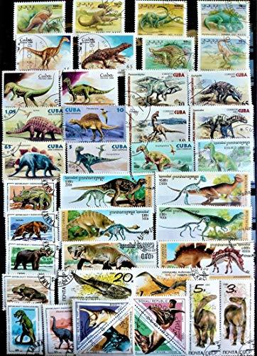 JCNL Francobolli di Dinosauri preistorici da 50 Pezzi/Lotto Tutti Diversi da Molti Paesi No ripetere francobolli contrassegnati inutilizzati per la Raccolta di S