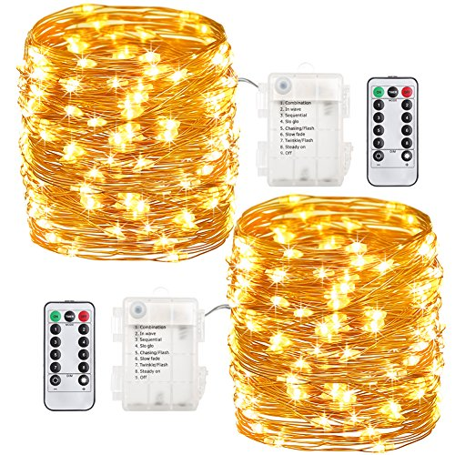 GDEALER 2 Pack 33 Feet 100 Led Fairy Lights Battery Operated with Remote Control Timer Waterproof Copper Wire Twinkle String Lights for Halloween Bedroom Indoor Outdoor Wedding Dorm Decor Warm White