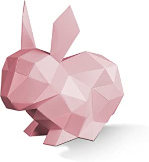 3D Rabbit Papercrafts, Cute Animals Arts and Crafts Coloring DIY Kits Sculpture Model Low Poly Home Office Decoration Gif...
