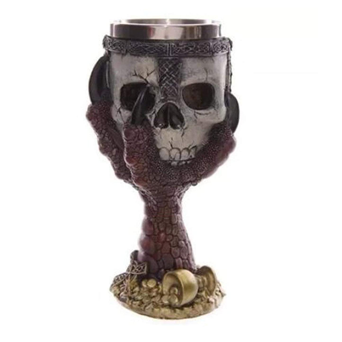 苦難馬鹿勧告Saikogoods カップを飲むクリエイティブステンレス鋼3Dスカルゴブレットビールジョッキ 銀 赤い爪ゴブレット