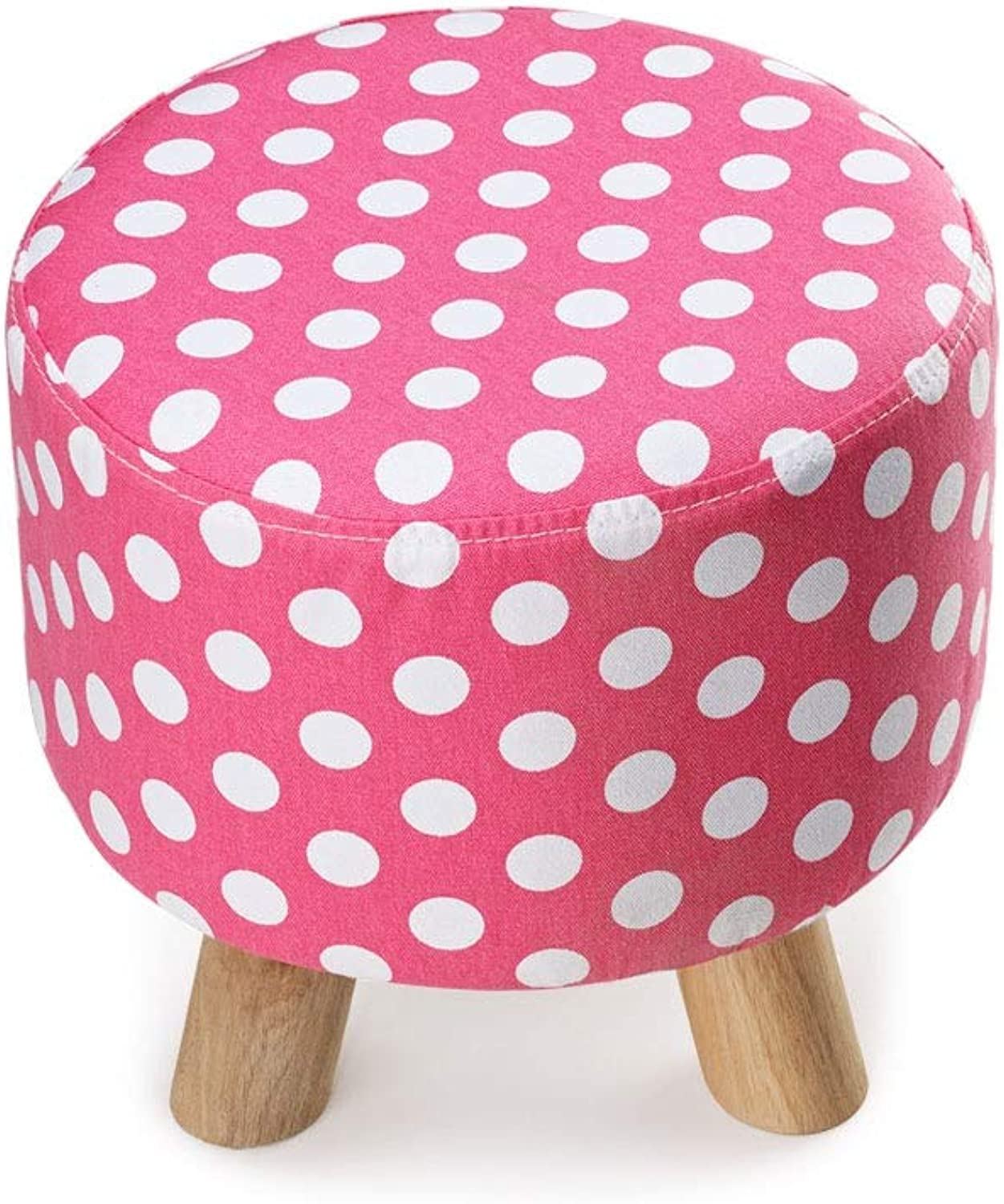 Footstool Three-Legged Small Round Stool Dot Fabric Sofa Bench Wear shoes Low Stool Solid Wood Pier (color   Pink)
