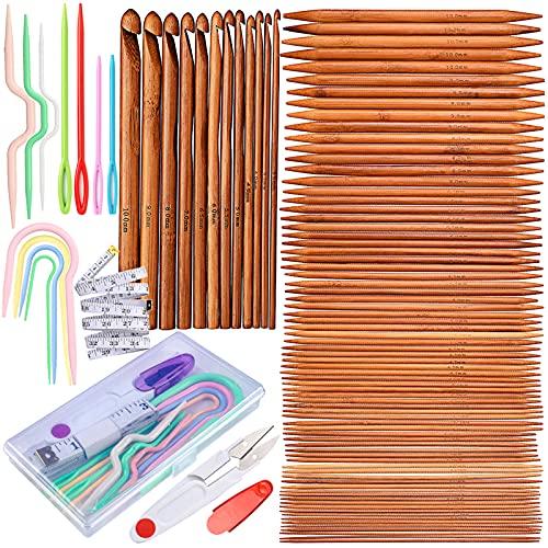 Exquiss - Set di ferri da maglia a doppia punta in bambù, 75 pezzi, 15 misure + 12 ganci per uncinetto in 12 misure + 4 ferri per cavi di 4 misure + 3 supporti per punti cavi di 3 misure