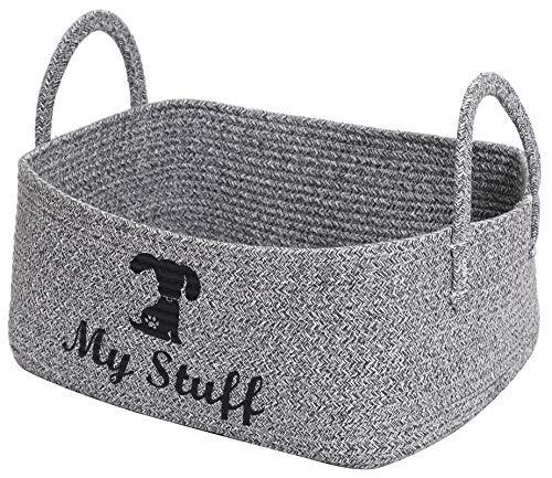 Geyecete-Cesta de algodón con cuerda de algodón para mascotas, caja de juguetes para perros, Con mango extendido, cesta de almacenamiento para juguetes de perros,Ropa de perros -Gris Mixto