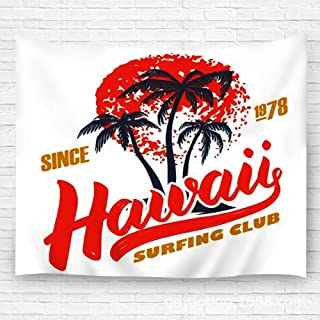 txregxy Wall Hanging Tapestry/Wall Hanging Decor Hawaii Surfing Club Poster Template with and Palms Image Home Living Room Bedroom Decor Carpet 51.2
