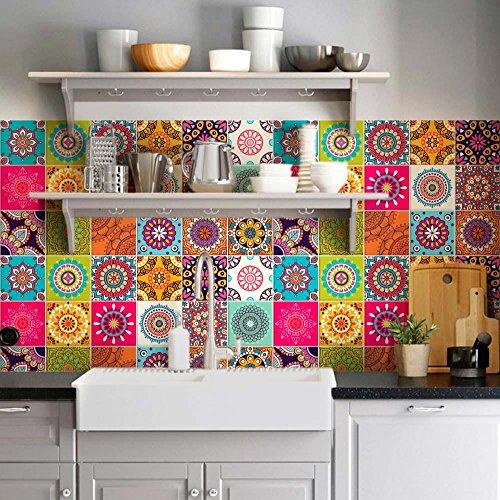 72 (Piezas) Adhesivo para Azulejos 10x10 cm - PS00178 - Lleida - Adhesivo Decorativo para Azulejos para baño y Cocina - Stickers Azulejos - Collage de Azulejos