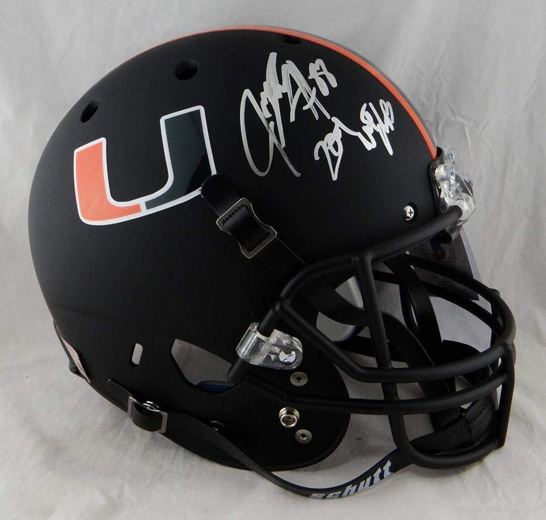 Jeremy Shockey Signed Miami F S Black Schutt Helmet w NATL Champs Beckett AUT  Beckett Authentication