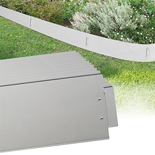 MCTECH® 15 x Rasenkante Metall verzinkt Beetumrandung Beeteinfassung Mähkante, 14cm hoch, 100cm lang (15m)