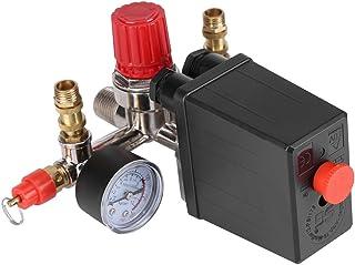 Regulador de Presión de Válvula de Presión Interruptor de Presión Válvula Reguladora con Manómetro Dobles 90-120 PSI para Compresor de Aire