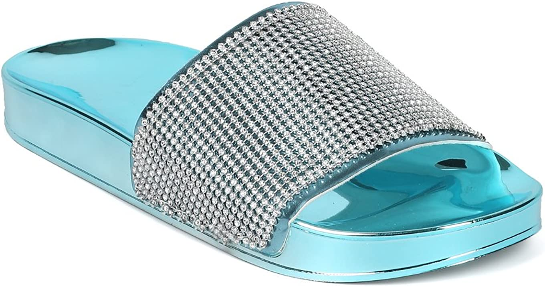 Alrisco Women Metallic Rhinestone Molded Footbed Slide HH07 - Ice Blue Mix Media (Size: 6.0)
