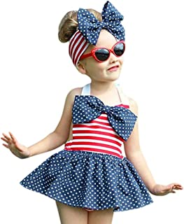 Lurryly 2019 2Pcs Baby Girl Toddler Kids 4th of July Star Stripe Romper Dress Headband Clothes Outfit Set 1-5T