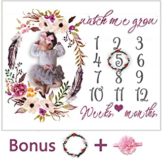 Baby Monthly Milestone Blanket - Floral Receiving Blanket Birthday Gift Photo Prop for Boys Girls Floral Blanket for Newborn Nursery (Flowers Blanket)