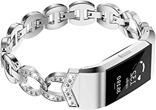 Wearlizer Compatible for with Charge 2 Bands Metal Replacement Charge hr 2 Bands/Assesories/Strap Adjustable for Bands Charge 2 Bling Style Silver