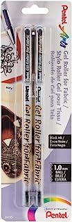 Pentel Gel Roller Fabric Pens 1mm 2/Pkg-Black, Other, Multicoloured, 3.39 x 8.35 x 21.05 cm