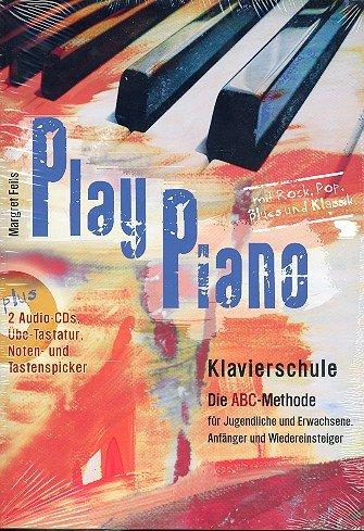 PLAY PIANO - die Klavierschule (+2 CDs) mit Bleistift für Jugendliche und Erwachsene, Anfänger und Wiedereinsteiger mit über 100 Spielstücken aus Rock, Pop, Blues und Klassik - inkl. Übe-Tastatur, Noten- und Tastenspicker (Noten/sheet music)