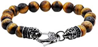 Men's Genuine Gemstone Stainless Steel Bead Bracelet - Black CZ Skull Lobster Clasp