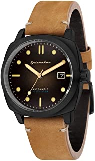 SPINNAKER Men's Hull 42mm Brown Leather Band IP Steel Case Automatic Black Dial Analog Watch SP-5059-04