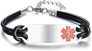Aooaz Medical Id Bracelet Tags Adjustable Rope Bracelet with Medical Sign Chain Bracelet Stainless Steel for Unisex