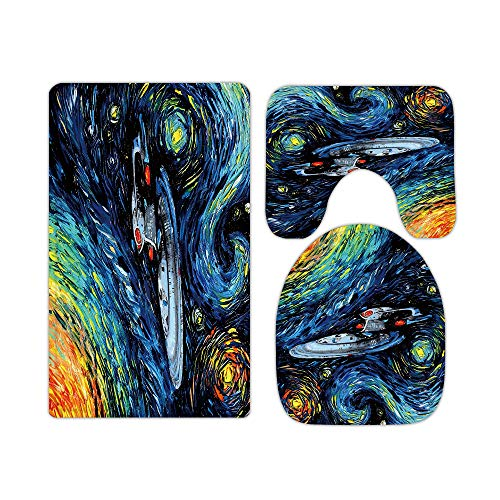 Star Trek Enterprise Oil Painting Space Bathroom Rugs and Mats Sets 3 Piece Memory Foam Bath Mat U-Shaped Contour Shower Mat Non Slip Absorbent Velvet Toilet Lid Cover Washable