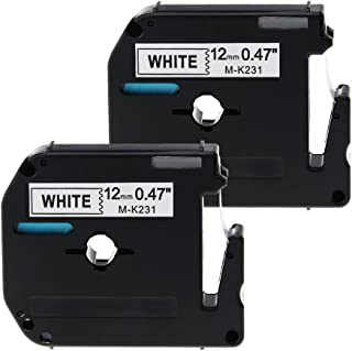 2 Pack Compatible with Brother P-Touch M231 Label Tape Cartridge 12mm MK231 M-K231 for PT65 PT90 PT55BM PT55 PT65SB PT70 PT80 PT85 PT100 PT110 Label Printer, 0.47 Inch x 26.2 Feet