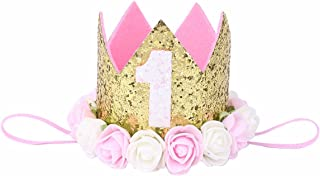 iiniim Baby Girls' 1St Birthday Rose Golden Crown Tiara Headbands Hair