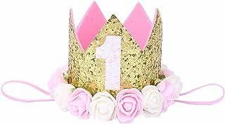 iiniim Baby Girls' 1St Birthday Rose Golden Crown Tiara Headbands Hair