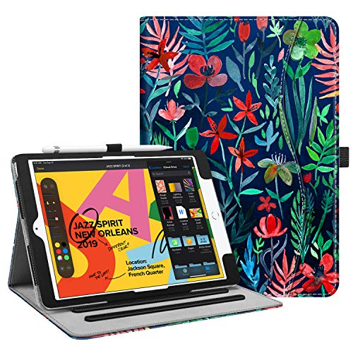 Fintie Case for New iPad 7th Generation 10.2 Inch 2019 - [Corner Protection] Multi-Angle Viewing Folio Smart Stand Back Cover with Pocket, Pencil Holder, Auto Wake/Sleep for iPad 10.2', Jungle Night