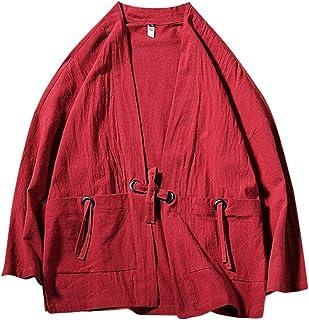 Zhhlinyuan Men Long Sleeve Chinese Tang Suit Hanfu Japanese Kimono Vintage Robe Cardigan Summer