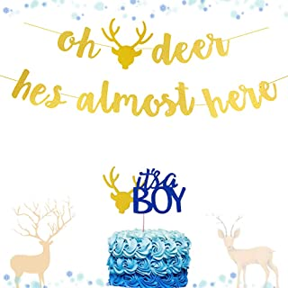 LaVenty Set of 2 Oh Deer He is Almost Here Banner Oh Deer Banner Woodland Baby Shower Decorations Oh Deer Baby Shower
