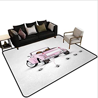 Carpet Next to The Sofa Cars,Just Married Theme Love Valentines for Bride and Groom Picture Wedding Ceremony Print,Pink White,