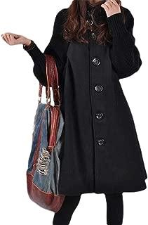 Womens Long Sleeve Mid Long Length Outwear with Pocket Overcoats Turtleneck Tops Outwear