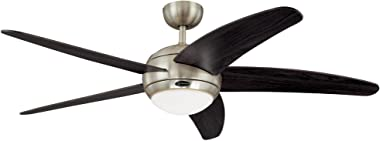 Westinghouse Lighting 7255700 Bendan 52-Inch Satin Chrome Indoor Ceiling Fan, Light Kit with Opal Frosted Glass, Remote Contr