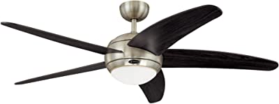Westinghouse Lighting 7255700 Bendan 52-Inch Satin Chrome Indoor Ceiling Fan, Light Kit with Opal Frosted Glass, Remote Control Included