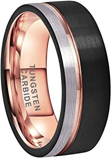 Silly Kings 6mm Black Brushed Rose Gold Tungsten Carbide Wedding Ring Modern Center Groove Inlay Unisex Band