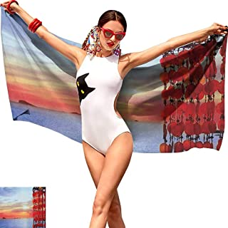 Cash Hoover Body Shower TowelCustom Shower Towel Beach,Dreamcatcher Ibiza Sunset Mediterranean Sea View Picture Vacation Theme Image,Red Blue Coral,Suitable for Home,Travel,Swimming Use 20