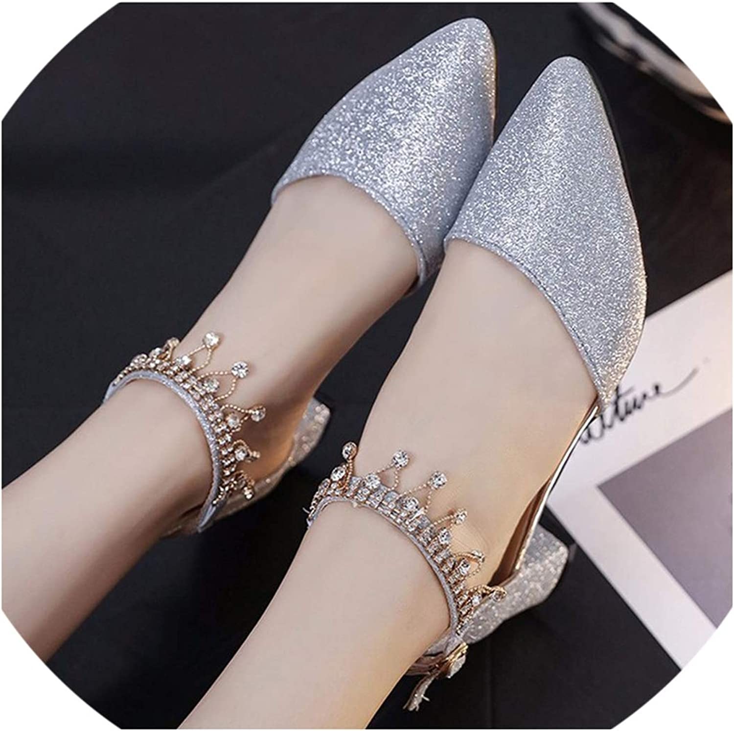High Heels Bling Pointed Toe Platform String Bead Sandals Wedding shoes Casual Extreme