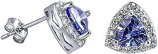 Laevanna: 6mm Trillion cut Simulated Tanzanite & IOF CZ Halo Earrings 925 Sterling Silver, 0216