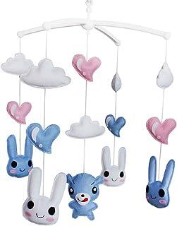 Lapins Jouet de décoration de lit bébé Mobile musical musical pour berceau fait main en