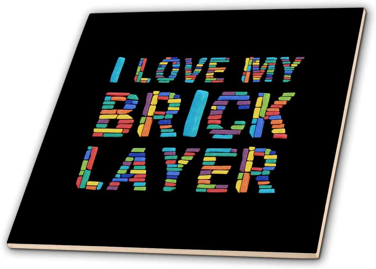 Limited time Direct sale of manufacturer cheap sale 3dRose I Love My Bricklayer text of brick images colorful black