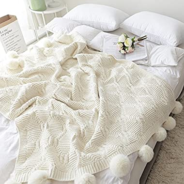 Pom Pom Plush Throw Blanket, Luxurious Lovely Lounge Cover Knitted Blanket Fit for Adult and Teens Resting Reading Apply on All Seasons (51.18 ×59.05 , Cream)